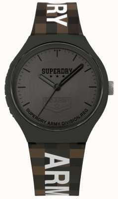 Superdry | mens urbain xl | bracelet en silicone deux tons | gris métallique SYG251E