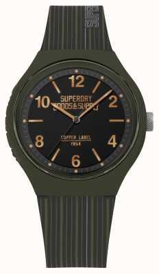 Superdry | mens urbain xl | bracelet en silicone kaki | cadran noir | SYG252N