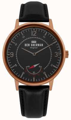 Ben Sherman | héritage de portobello pour hommes | cadran noir | cuir noir | WB034B