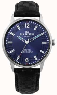 Ben Sherman | mens daltrey social | bracelet en cuir noir | cadran bleu | WB029BU