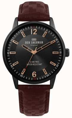 Ben Sherman | mens daltrey social | bracelet en cuir marron | cadran noir | WB029TB
