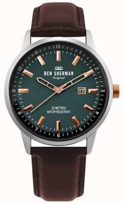 Ben Sherman | daltrey professionnel | cuir marron | cadran vert | WB030NT