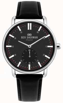 Ben Sherman | ville de brighton pour hommes | bracelet en cuir noir | cadran noir | WB033BB
