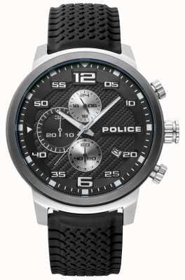 Police | bromo homme | bracelet en silicone noir | cadran noir | 15657JSTU/02P