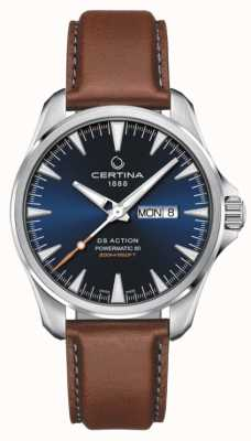 Certina | ds action jour-date powermatic 80 | cadran bleu | bracelet marron C0324301604100