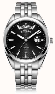 Rotary | mens henley | cadran noir | bracelet en acier inoxydable | GB05290/04