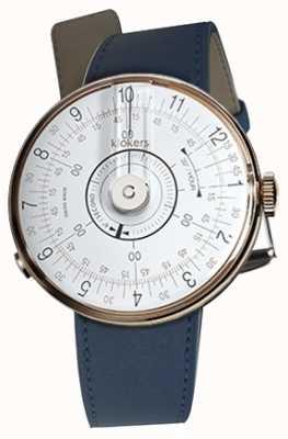 Klokers Klok 08 Tete de montre blanche, bracelet simple, bleu indigo KLOK-08-D1+KLINK-01-MC3