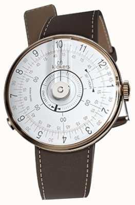 Klokers Klok 08 Tete de montre blanche, brun chocolat KLOK-08-D1+KLINK-01-MC4