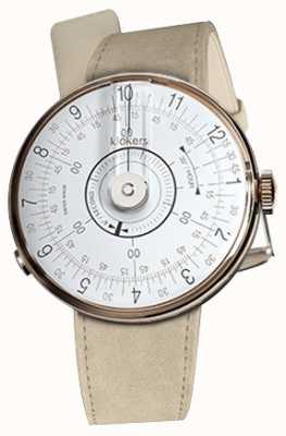 Klokers Klok 08 tête de montre blanche alcantara gris bracelet simple KLOK-08-D1+KLINK-01-MC6