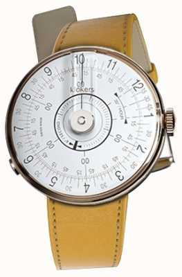 Klokers Klok 08 tête de montre blanche newport jaune à bracelet simple KLOK-08-D1+KLINK-01-MC7.1