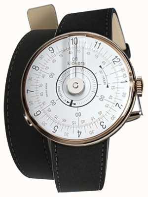Klokers Klok 08 Matte de montre blanche Double bracelet noir KLOK-08-D1+KLINK-02-380C2