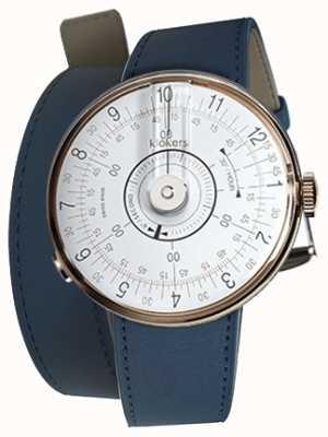 Klokers Klok 08 tête de montre blanche bracelet double bleu indigo KLOK-08-D1+KLINK-02-380C3