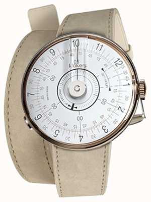 Klokers Klok 08 tête de montre blanche alcantara gris double bracelet KLOK-08-D1+KLINK-02-380C6