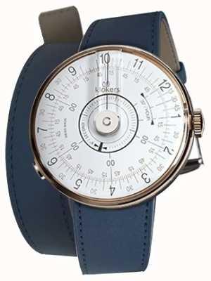 Klokers Klok 08 tête de montre blanche bracelet double 420mm bleu indigo KLOK-08-D1+KLINK-02-420C3