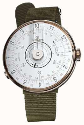 Klokers Klok 08 bracelet de montre blanc en textile vert lichen avec tête KLOK-08-D1+KLINK-03-MC2