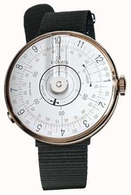 Klokers Klok 08 Tête de montre blanche en textile noir Bracelet simple KLOK-08-D1+KLINK-03-MC3