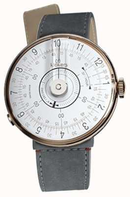 Klokers Klok 08 tête de montre blanche bracelet en alcantara strait gris KLOK-08-D1+KLINK-04-LC11