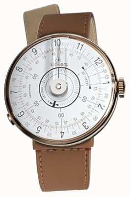Klokers Klok 08 bracelet de montre détroit blanc tête de montre blanche caramel brun KLOK-08-D1+KLINK-04-LC12
