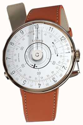 Klokers Klok 08 Tête de montre blanche alcantara orange, bracelet simple KLOK-08-D1+KLINK-01-MC5