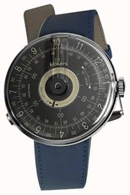 Klokers Klok 08 bracelet simple bleu indigo cadran noir KLOK-08-D3+KLINK-01-MC3