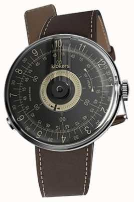 Klokers Klok 08 bracelet noir brun chocolat avec cadran noir KLOK-08-D3+KLINK-01-MC4
