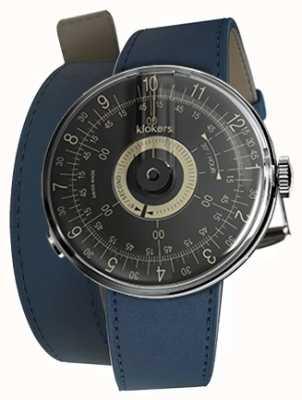 Klokers Klok 08 cadran noir 420 mm double bracelet bleu indigo KLOK-08-D3+KLINK-02-420C3