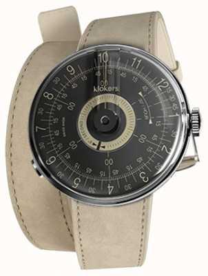Klokers Klok 08 cadran noir alcantara gris 420mm bracelet double KLOK-08-D3+KLINK-02-420C6