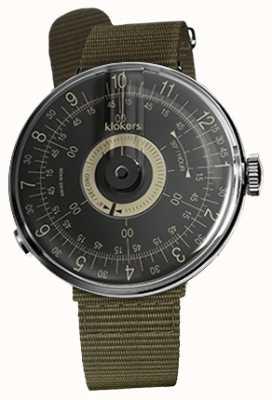 Klokers Klok 08 bracelet simple en textile vert lichen avec cadran noir KLOK-08-D3+KLINK-03-MC2