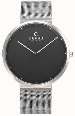 Obaku | mens papir onyx | bracelet en maille d'argent | cadran noir | V230GXCBMC