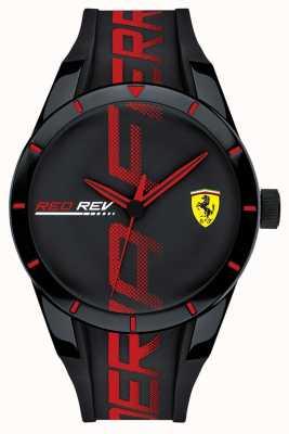 Scuderia Ferrari | redrev hommes | bracelet en silicone noir / rouge | cadran noir | 0830614
