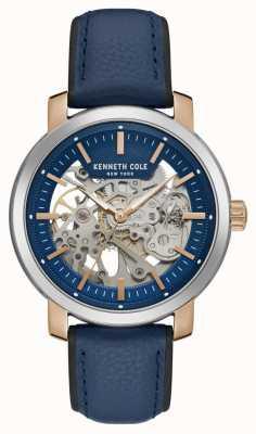 Kenneth Cole   mens automatique   bracelet en cuir bleu   cadran squelette bleu   KC50776002