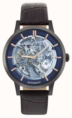 Kenneth Cole | mens automatique | bracelet en cuir marron | cadran bleu | KC50559001
