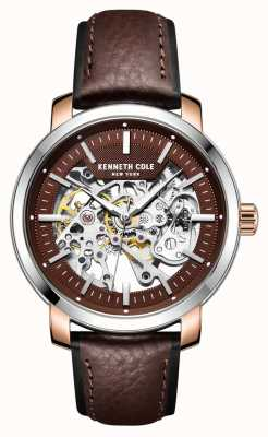 Kenneth Cole | mens automatique | bracelet en cuir marron foncé | cadran marron | KC50776003