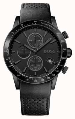 Hugo Boss   mens chronographe rafale   cadran noir   bracelet en cuir noir 1513456