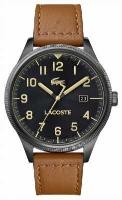 Lacoste | mens continental | bracelet en cuir marron | cadran noir | 2011021