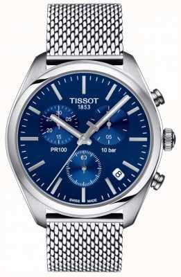 Tissot | chronographe pr100 pour hommes | bracelet en maille | cadran bleu | T1014171104100