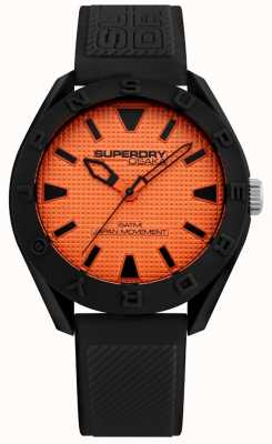 Superdry | mens osaka | bracelet en silicone noir | cadran orange | SYG243BO