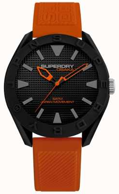 Superdry | mens osaka | bracelet en silicone orange | cadran noir | SYG243OB