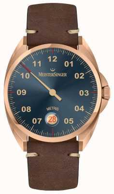 MeisterSinger Bracelet en cuir de veau brun foncé metris line ME917BR