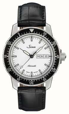 Sinn 104 st sa montre de pilote classique alligator en cuir gaufré 104.012 BLACK EMBOSSED LEATHER BLACK STITCHING