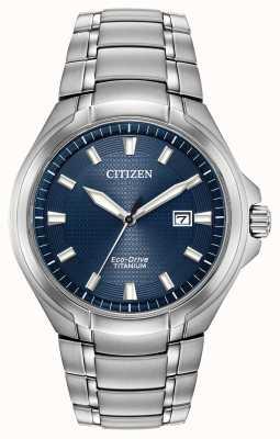Citizen Cadran bleu Eco-Drive en titane pour homme 100m étanche BM7431-51L
