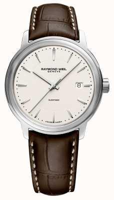 Raymond Weil | homme maestro | bracelet en cuir marron | cadran argenté | 2237-STC-65011