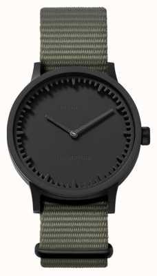 Leff Amsterdam | montre de tube | t32 | noir | bracelet nato gris | LT74252