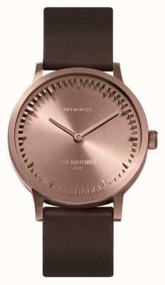 Leff Amsterdam | montre de tube | t32 | or rose | bracelet en cuir marron | LT74424