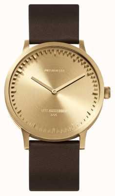Leff Amsterdam | montre de tube | t40 | laiton | bracelet en cuir marron | LT75323