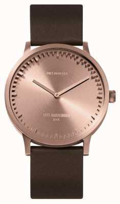 Leff Amsterdam | montre de tube | t40 | or rose | bracelet en cuir marron | LT75424