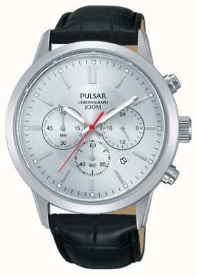 Pulsar | chronographe homme | cadran argenté | bracelet en cuir noir | PT3749X1