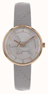 Radley   bracelet en cuir gris pour femme   cadran gris pour chien en relief   RY2804