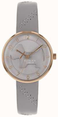 Radley | bracelet en cuir gris pour femme | cadran gris pour chien en relief | RY2804