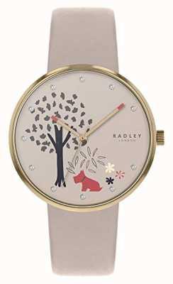 Radley | bracelet en cuir nude pour femme | cadran motif arbre et chien | RY2786